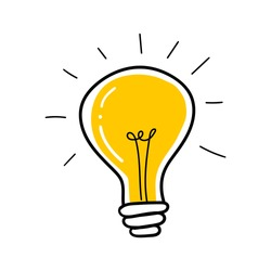 Light bulb with rays shine. Cartoon style. Flat style. Hand drawn style. Doodle style. Symbol of creativity, innovation, inspiration, invention and idea. Vector illustration