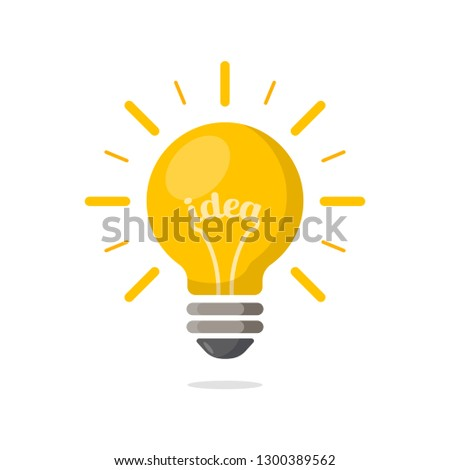 Light bulb with rays shine. Energy and idea symbol.