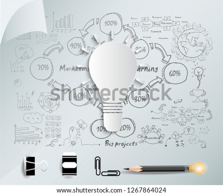 Light bulb with  Sketch  plan Business  icon various  - Creativity modern Idea and Concept illustration -Vector