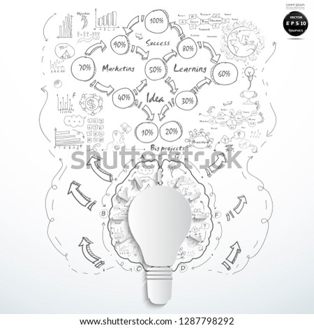 Creative Light Bulb With Drawing Business Strategy Plan Concept Idea