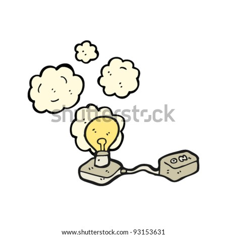 light bulb with switch cartoon - stock vector