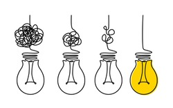 Light bulbs and scribbles. the concept of chaos and order in thoughts and ideas. flat vector illustration isolated on white background