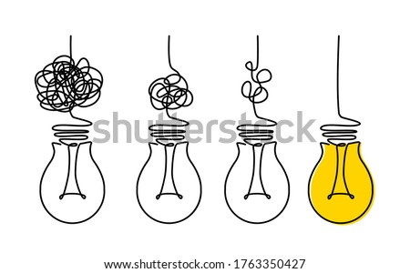 Light bulbs and scribbles. the concept of chaos and order in thoughts and ideas. flat vector illustration isolated on white background Photo stock ©