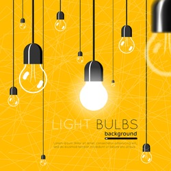 Light bulbs background. Idea concept. Energy power, electricity bright light, vector illustration