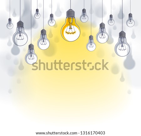 Light bulbs beautiful vector illustration with single one shining, idea concept, think different, stand out of crowd, creative inspiration. Composition with copy space for text.