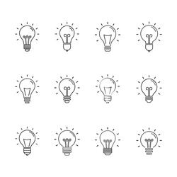 Light bulbs. Bulb icon set. Lamp line icon on white background. Vector illustration. light bulbs set. light bulb
