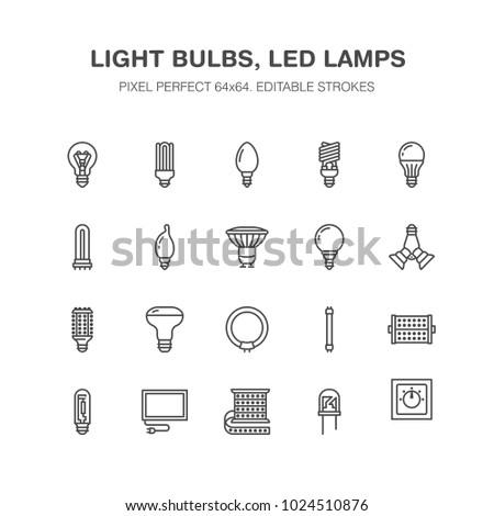 light bulbs flat line icons