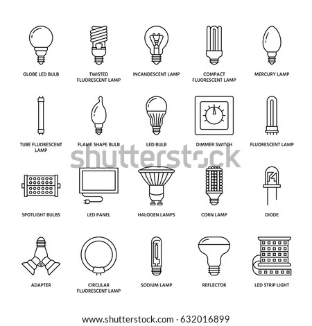 light bulbs flat line icons