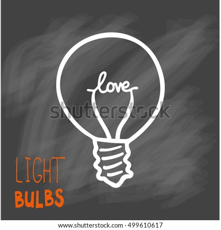 Light bulbs icon. Concept of big ideas inspiration, innovation, invention, effective thinking. CFL lamp.  Isolated. Vector illustration.  Idea symbol. Vector. sketch. Sign. On chalk background #499610617