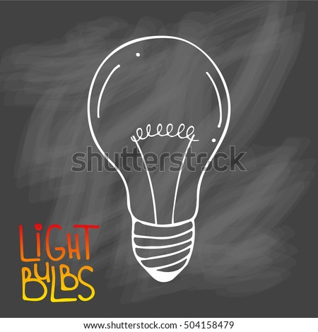 Light bulbs icon. Concept of big ideas inspiration, innovation, invention, effective thinking. CFL lamp.  Isolated. Vector illustration.  Idea symbol. Vector. sketch. Sign. On chalk background #504158479