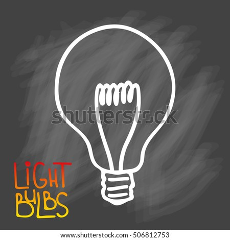 Light bulbs icon. Concept of big ideas inspiration, innovation, invention, effective thinking. CFL lamp.  Isolated. Vector illustration.  Idea symbol. Vector. sketch. Sign. On chalk background #506812753