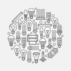Light bulbs sign with outline bulb icons - vector linear illustration or logo element