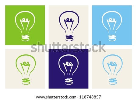 Light bulbs vector icon set on green, beige, blue and navy background. Sign or symbol of creative invention or ecology power