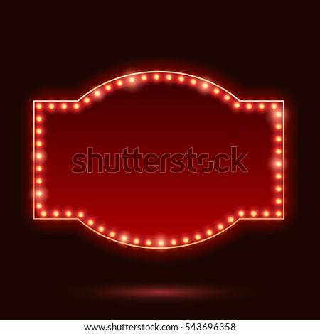 Light bulbs vintage neon glow sticker form frame vector illustration. Good for cinema show theater circus casino design. #543696358