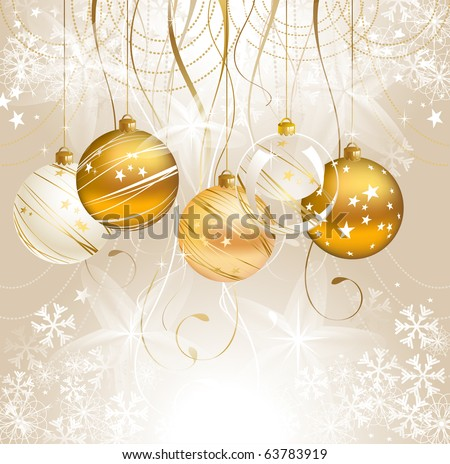light Christmas backdrop with five balls