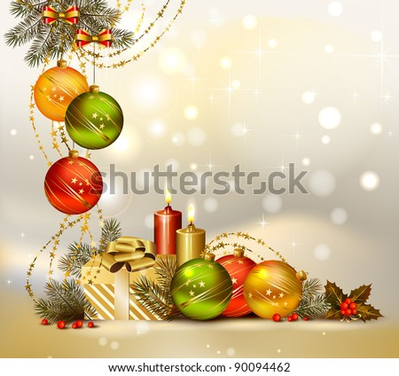light Christmas background with evening balls, candles and gift