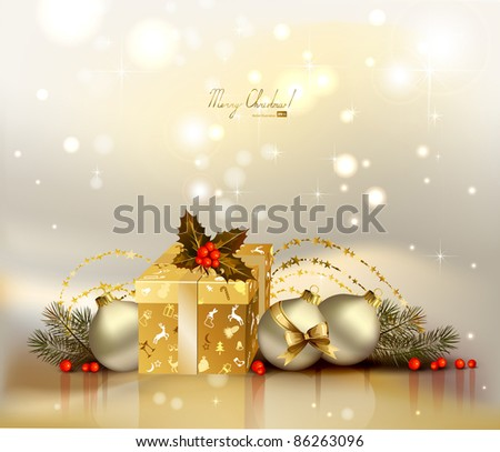 light Christmas background with evening balls, holly and gift