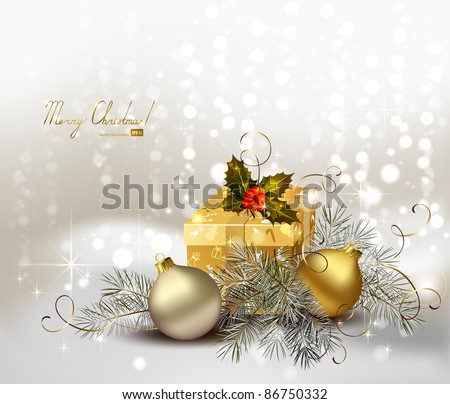 light Christmas background with gold evening balls and gift