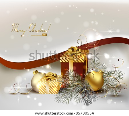 light Christmas background with gold evening balls and gifts