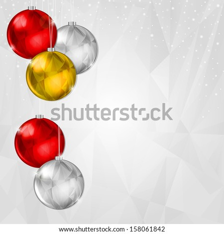 Light Christmas Background with Hanging Silver and Gold Decoration #158061842