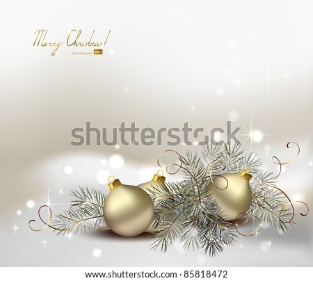 light Christmas background with still life of silver evening balls and fir tree