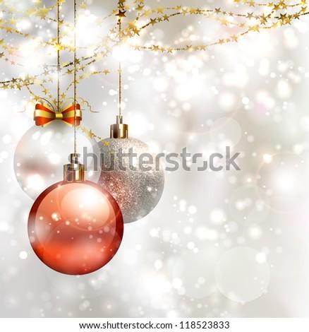 light Christmas background with three evening balls