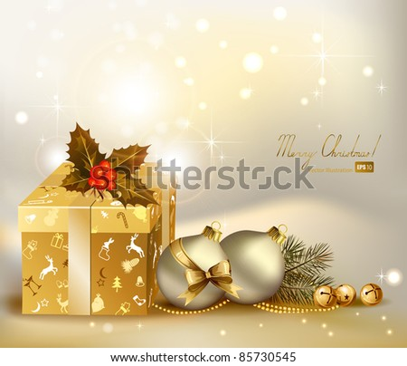 light Christmas background with two evening balls and gifts