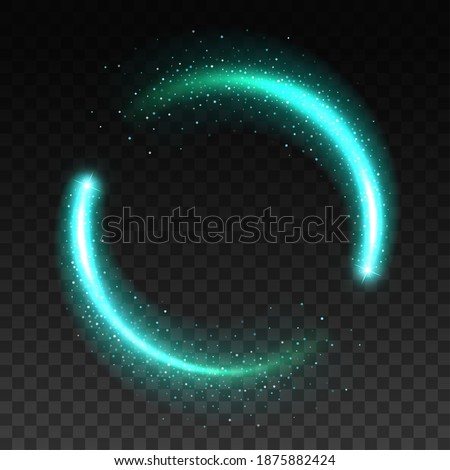 Light circle sparkles, round ring or glow frame vector, shine effect of green blue or turquoise. Light circle glow isolated on transparent background, shiny neon flare and glossy translucent ring