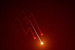 Light down arrow on dark red background, economic crisis chart concept, copy space composition.