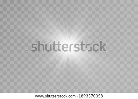 Light effect. Bright Star. Light explodes on a transparent background. Bright sun. Foto stock ©
