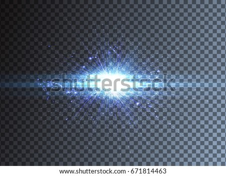 Light effect, glowing flare, on transparent background. Vector graphic design