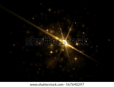 Light effect, glowing flare. Vector element.