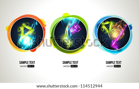 Light Effect in Round Frames. Light Effect Background.