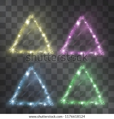 Light effect of triangle neon vector frames set with glowing facets of shining stardust sparkles illumination. Glistening energy flow. Hazy cosmic glow style decor on transparent background.