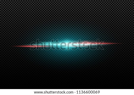 Light effect on a transparent background. Horizontal red an blue flash. Multicolored flares. Blue rays. Vector illustration. EPS 10