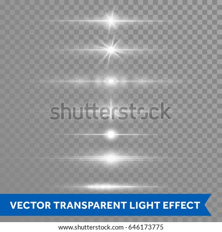 Light effect or twinkling star shine with lens flare shining. Vector isolated icons of glittering sun beams or ray lines flash on transparent background
