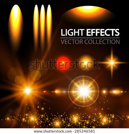 Light effect set. Spotlights, flash, stars & particles.  Vector illustration