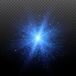 Light effect. Star burst with sparkles. Blue glitter texture