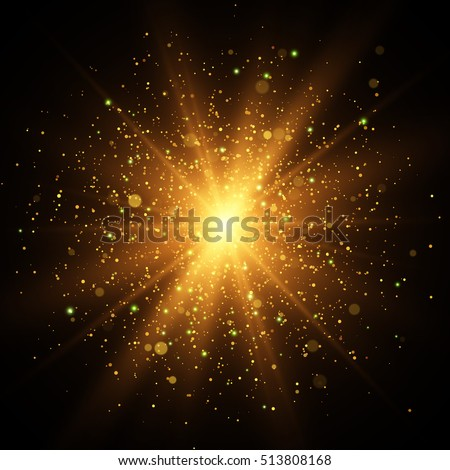 Light effect. Star burst with sparkles. Gold glitter texture