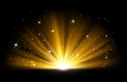 Light effect. Vector shining golden bright light. Gold shine burst with sparkles illustration isolated on black background