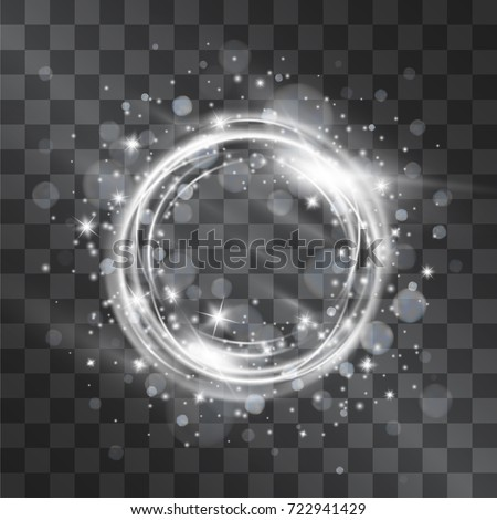 Light effect with silver circle frame with glowing tail of shining stardust sparkles, cold illumination. Glistening blizzard energy ring flows in motion. Luxurious brilliant design element.