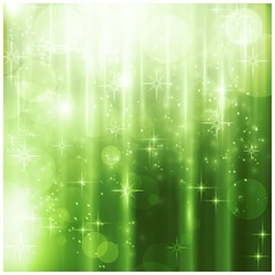 Light effects, blurry light dots and stars on a sparkling green background for your Christmas design.