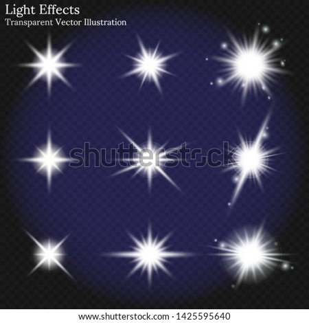 light effects transparent vector illustration, flares star lights and glow white elements, Explosion, Special effect.