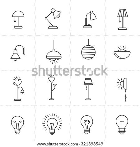 light fixture linear icon set....