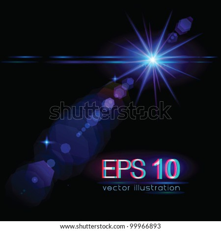 Light flare special effect (star) - vector illustration.