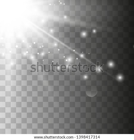 Light flare special effect with rays of light and magic sparkles. Flying white magical dust. Vector illustration eps 10.