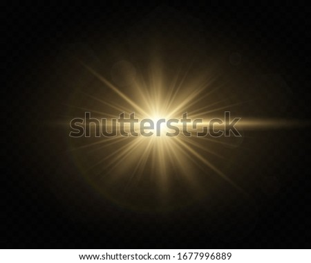 Light flare special effect with rays of light . Glow transparent vector light effect set, explosion, glitter, spark, sun flash. Сток-фото ©