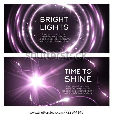 Light flash or lightning shine effect of spark burst. Vector glittering bright lights and sparkling glitter beams or ray with shiny twinkling stars and radial illumination with purple color background