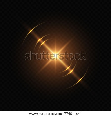 Light flash with lens flare effect of glittering sun or star