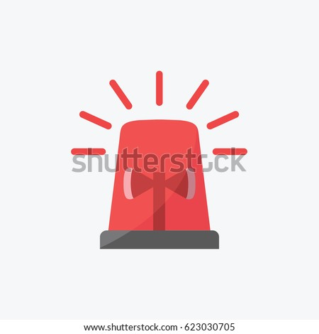 light for Police & red flashing, ambulance, or Firefighters siren sign illustration flat design style. simple clean Emergency vehicle lighting icon vector or symbol.